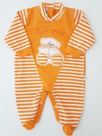 Picture baby footie love you stripes. Colour orange, size 3-6 months
