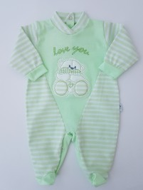 Picture baby footie love you stripes. Colour pistacchio green, size 3-6 months