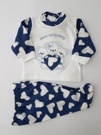 Baby footie cotton outfit bears company image. Colour blue, size 3-6 months