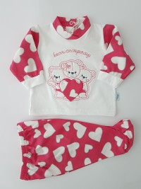Baby footie cotton outfit bears company image. Colour coral pink, size 1-3 months
