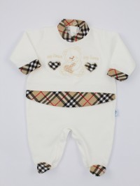 Image cotton baby footie interlock my heart my love. Colour creamy white, size 0-1 month