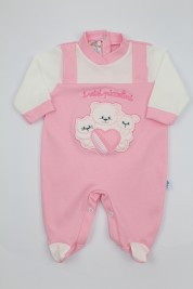 Image cotton baby footie interlock my little ones. Colour pink, size 1-3 months