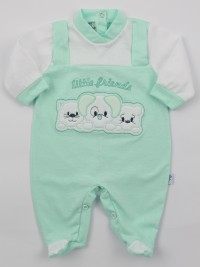 Image baby footie jersey small friends. Colour green, size 3-6 months