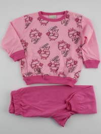 Baby image footie pajamas jersey buffette with glasses. Colour coral pink, size 9-12 months