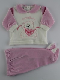 Picture baby footie outfit chenille pamper me. Colour pink, size 3-6 months