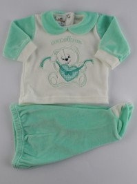 Picture baby footie outfit chenille pamper me. Colour green, size 0-1 month