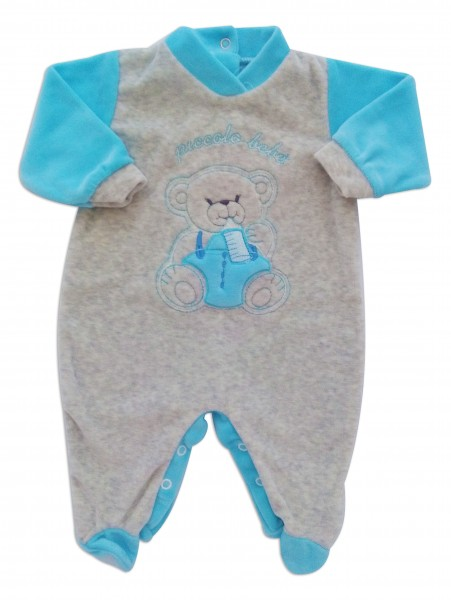 Chenille baby footie baby footie image baby bear small baby. Colour turquoise, size 1-3 months Turquoise Size 1-3 months