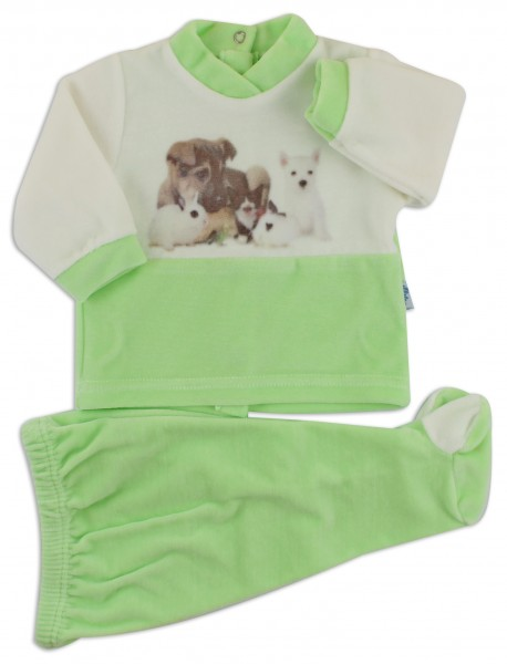 Picture baby footie outfit cute puppies. Colour pistacchio green, size 0-1 month