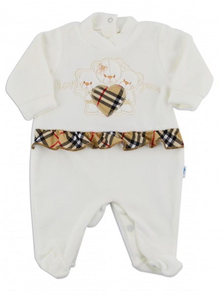 Image baby footie chenille love you. Colour creamy white, size 0-1 month Creamy white Size 0-1 month