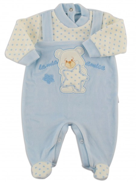 Picture baby footie chenille my star friend. Colour light blue, size 0-1 month Light blue Size 0-1 month