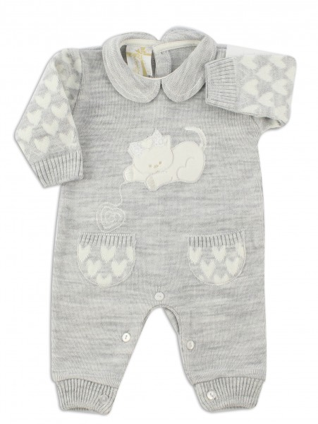 Picture baby footie mixed wool kitten. Colour grey, size 1-3 months Grey Size 1-3 months