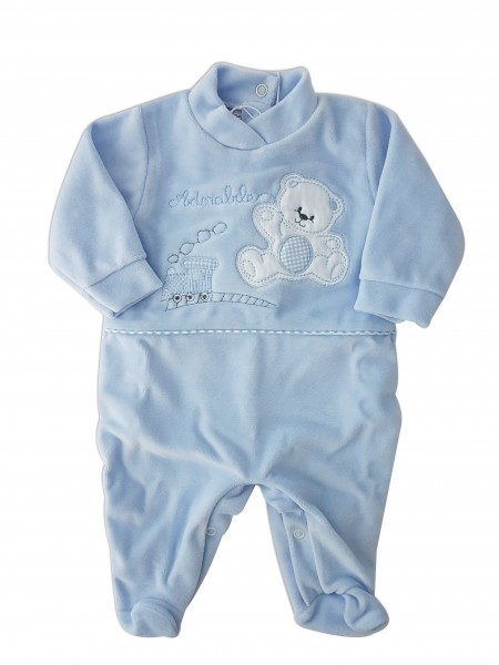 Image baby footie chenille bear and locomotive. Colour light blue, size 6-9 months Light blue Size 6-9 months