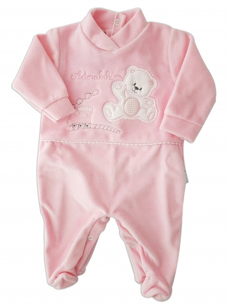 Image baby footie chenille bear and locomotive. Colour pink, size 3-6 months Pink Size 3-6 months