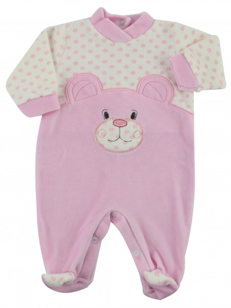 baby footie in chenille bear and polka dots. Colour pink, size 00 Pink Size 00