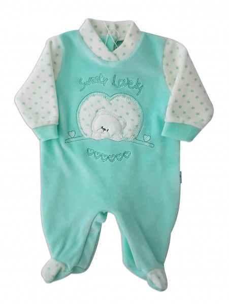 Chenille baby footie baby bear sweety lovely image of. Colour green, size 00 Green Size 00