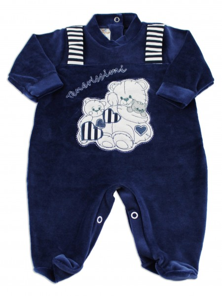 Baby image footie chenille cute puppies. Colour blue, size 3-6 months Blue Size 3-6 months