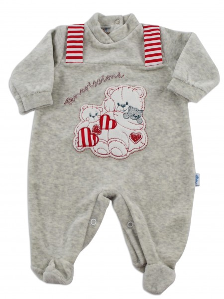Baby image footie chenille cute puppies. Colour grey, size 3-6 months Grey Size 3-6 months