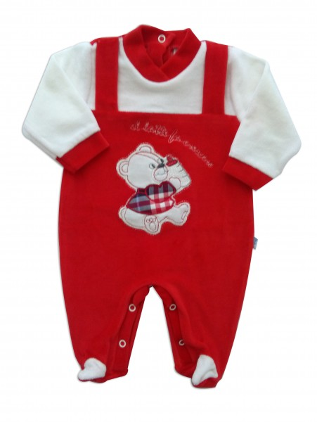 Picture baby footie chenille milk makes grow. Colour red, size 6-9 months Red Size 6-9 months