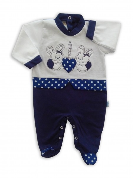 image baby footie bunnies AMOUR. Colour blue, size 6-9 months