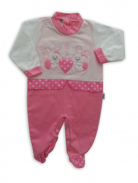 image baby footie bunnies AMOUR. Colour coral pink, size 3-6 months Coral pink Size 3-6 months