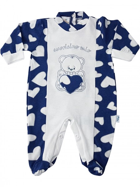 Picture cotton baby footie jersey baby bear little heart mine. Colour blue, size 3-6 months Blue Size 3-6 months