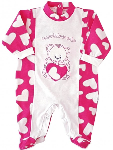 Picture cotton baby footie jersey baby bear little heart mine. Colour coral pink, size 6-9 months Coral pink Size 6-9 months