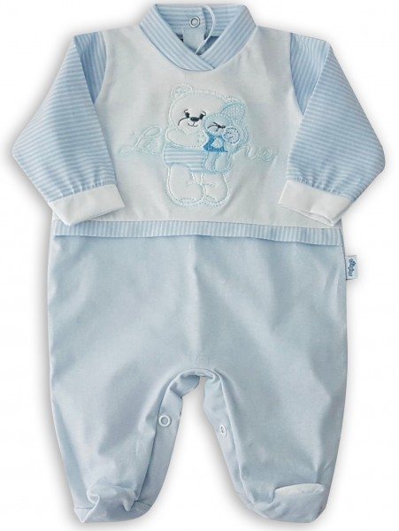 Image cotton baby footie jersey love. Colour light blue, size 0-1 month Light blue Size 0-1 month