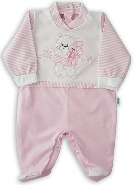 Image cotton baby footie jersey love. Colour pink, size 1-3 months Pink Size 1-3 months