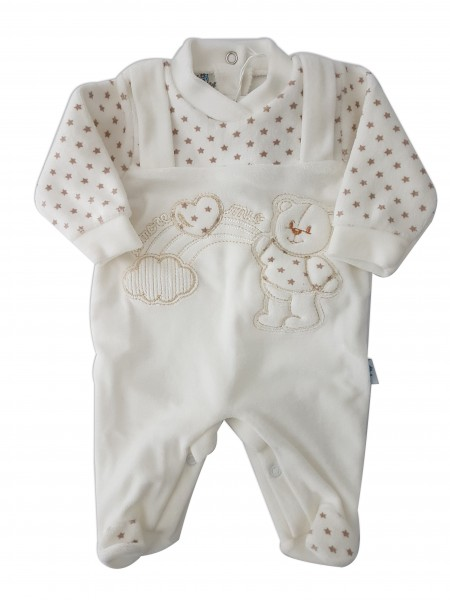 Picture baby footie in chenille baby bear and rainbow. Colour creamy white, size 00 Creamy white Size 00