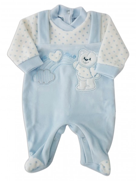 Picture baby footie in chenille baby bear and rainbow. Colour light blue, size 00 Light blue Size 00