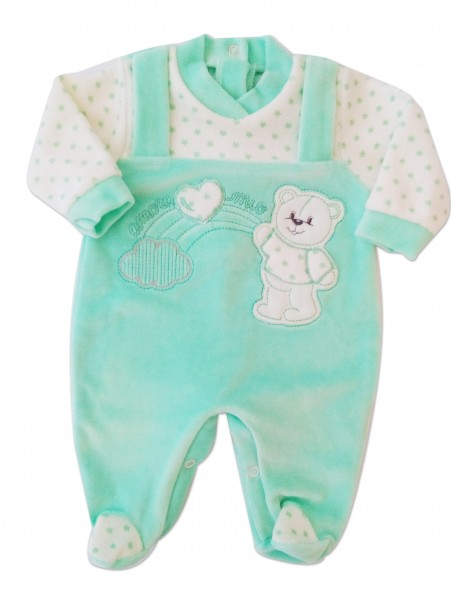 Picture baby footie in chenille baby bear and rainbow. Colour green, size 0-1 month Green Size 0-1 month