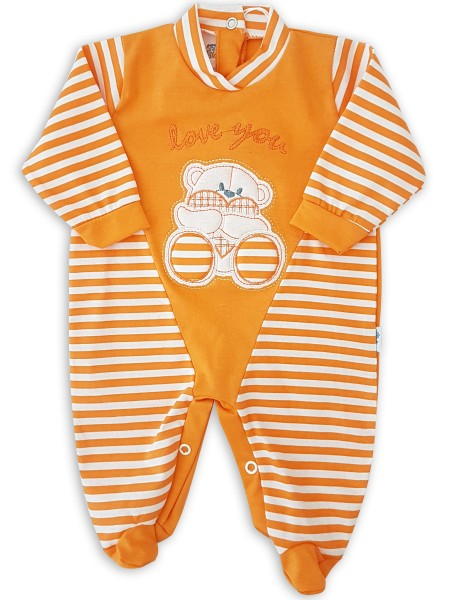Image baby footie love you stripes. Colour orange, size 0-1 month Orange Size 0-1 month