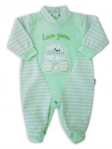 Image baby footie love you stripes. Colour pistacchio green, size 0-1 month Pistacchio green Size 0-1 month