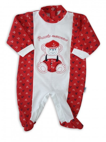 Image cotton baby footie jersey jersey small sailor. Colour red, size 1-3 months Red Size 1-3 months