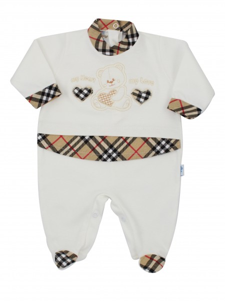 Image cotton baby footie interlock my heart my love. Colour creamy white, size 3-6 months Creamy white Size 3-6 months