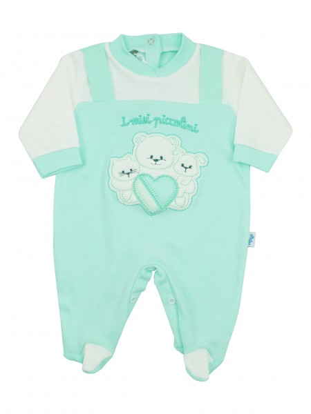 Image cotton baby footie interlock my little ones. Colour green, size 3-6 months Green Size 3-6 months