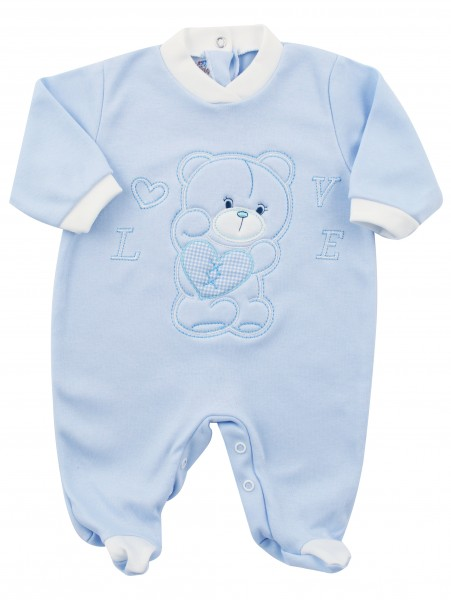 Image cotton baby footie interlock love heart. Colour light blue, size 3-6 months Light blue Size 3-6 months