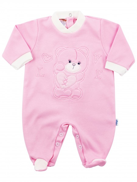 Image cotton baby footie interlock love heart. Colour pink, size 1-3 months Pink Size 1-3 months
