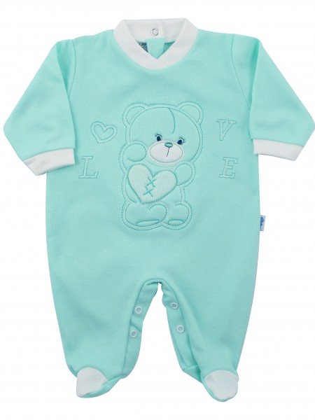 Image cotton baby footie interlock love heart. Colour green, size 1-3 months Green Size 1-3 months