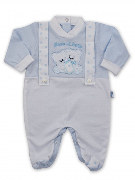 Picture baby footie in jersey We drink milk. Colour light blue, size 6-9 months Light blue Size 6-9 months