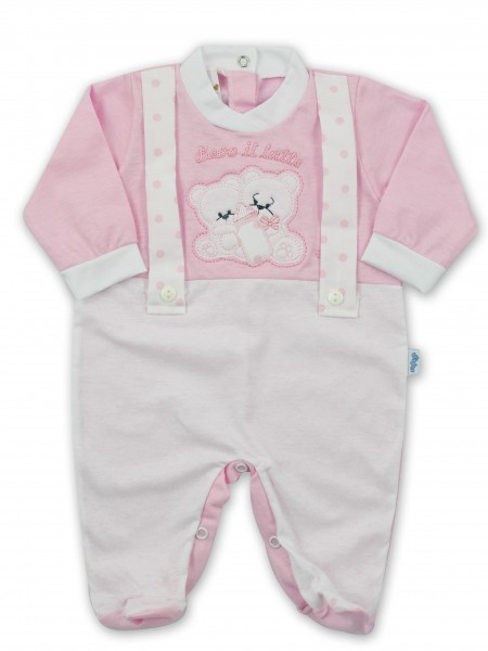 Picture baby footie in jersey We drink milk. Colour pink, size 6-9 months Pink Size 6-9 months