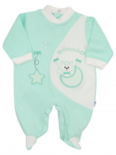 Image cotton baby footie interlock footie amour stars and moon. Colour green, size 0-1 month Green Size 0-1 month