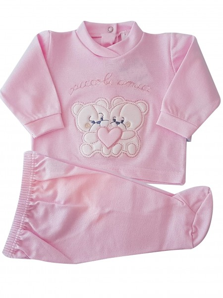 Picture baby footie outfit clinic in pique small friends. Colour pink, size 1-3 months Pink Size 1-3 months