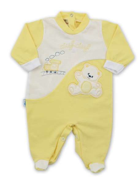 Baby footie jersey ciufciuf image. Colour yellow, size 1-3 months Yellow Size 1-3 months
