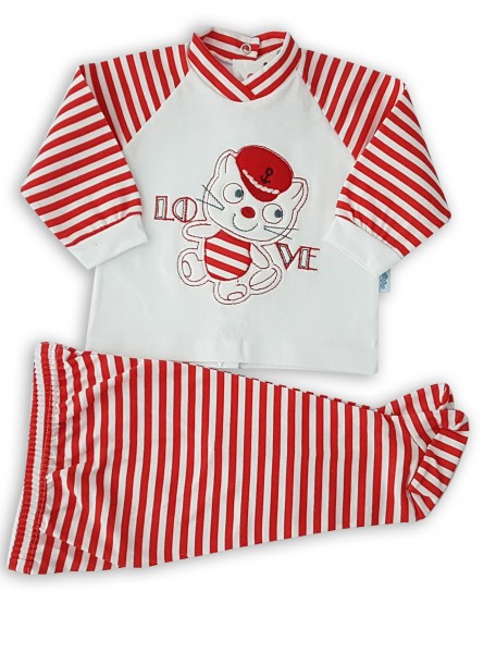 Baby outfit image in cotton jersey. Colour red, size 1-3 months