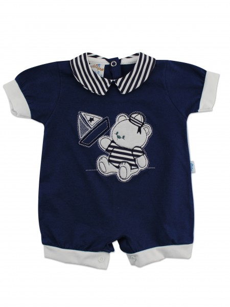 Image baby footie romper boat. Colour blue, size 1-3 months