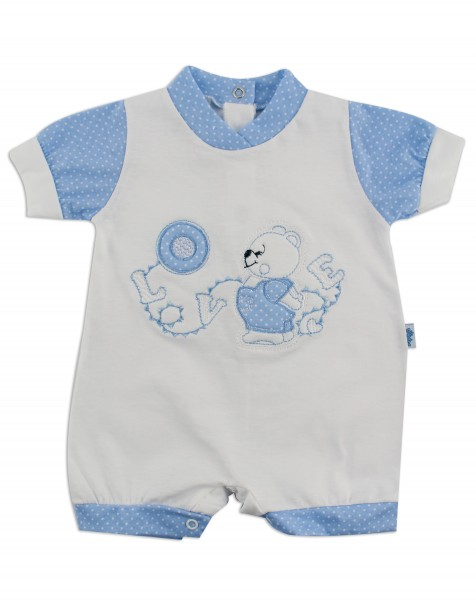 Image baby footie romper lifebelt. Colour light blue, size 0-1 month Light blue Size 0-1 month