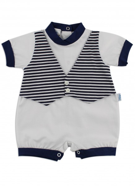 Image baby footie romper vest. Colour white, size 0-1 month White Size 0-1 month