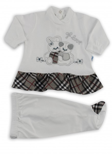 Image baby footie outfit cotton j love. Colour grey, size 1-3 months Grey Size 1-3 months