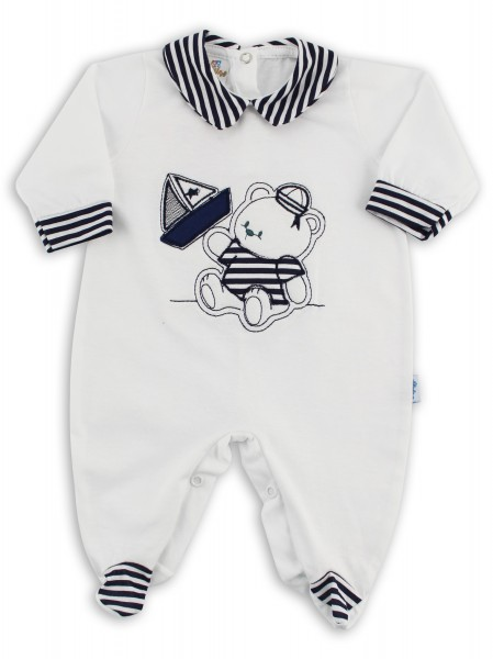 baby footie jersey boat stripes. Colour white, size 3-6 months